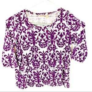 Chico's 3/4 Sleeve Purple & White Printed Blouse 2